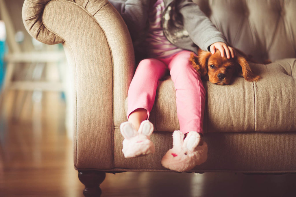 Kid and Dog on Couch