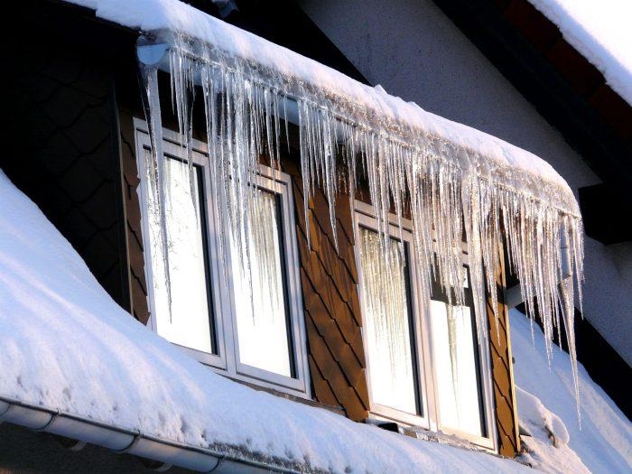 Ice Hanging from a Regina, Saskatchewan Home