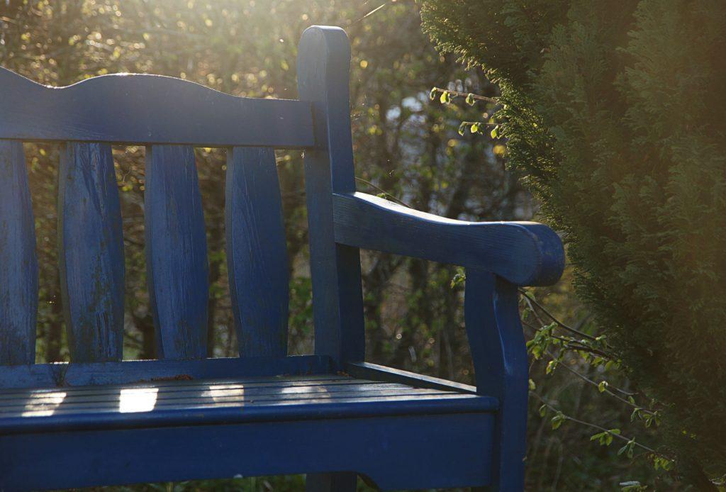 A Blue Park Bench in Saskatchewan, Canada